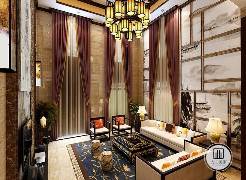 客厅装修效果图:沙发背景墙采用中式水墨画的装饰风格,白色沙发搭配黑色茶几。