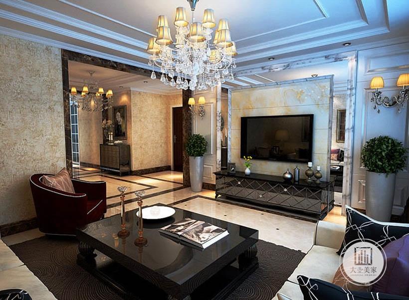 为了避免大面积堆叠色彩所带来的混乱感,设计师巧妙的将色彩融入软装之中,通过吊灯,沙发,地毯等配饰来侧面点缀空间,体现出空间的尊贵与优雅。