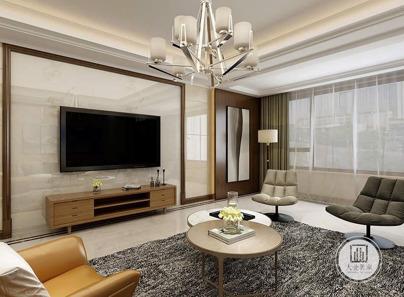 客厅影视墙铺贴白色瓷砖,电视柜采用浅色实木材料,阳台采用吊顶的设计。