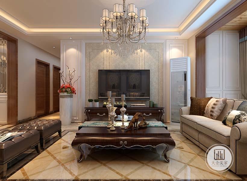 客厅影视墙采用浅黄色实木护墙板,电视柜采用红木材料,两侧采用白色实木护墙板。