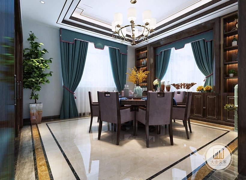餐厅餐桌餐椅采用红木装饰,一侧的窗户采用中式红木收纳柜,地面铺设白色瓷砖。