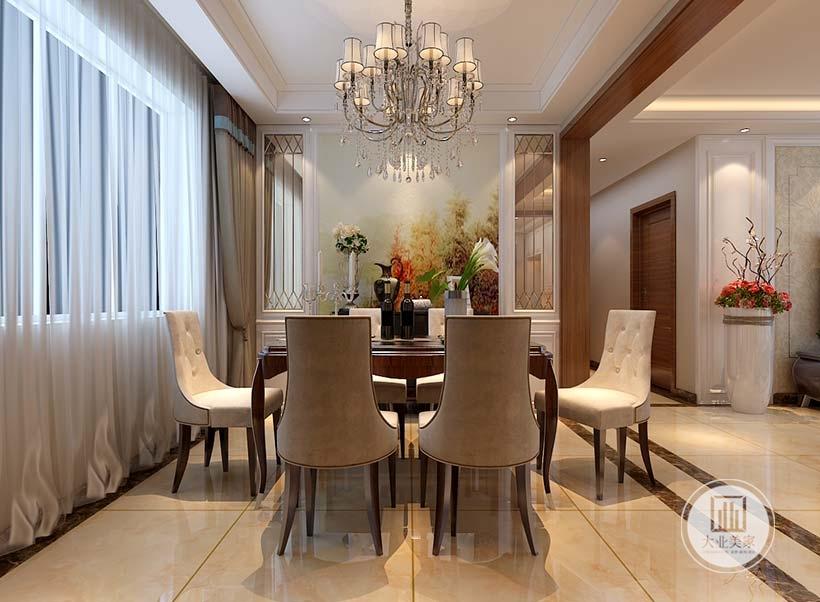 餐厅的餐桌餐椅都采用红木材料,墙面采用欧式风景画装饰,两侧采用镜面装饰增加视觉空间面积。