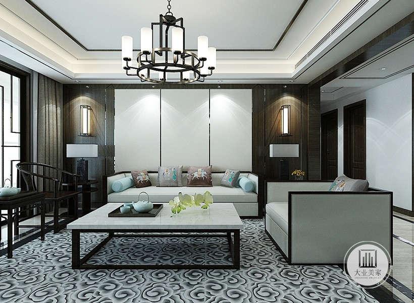 白色沙发布艺,线条简练,云纹图案地板,秉承了传统风格的典雅与华贵,刺绣工艺抱枕,为手工制作,提升居住者品味,贵气十足。