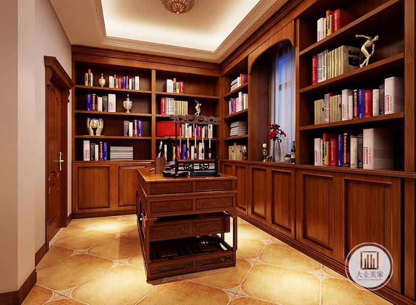 书房书桌采用中式红木书桌,四周的空间留出窗户的部分,其余的部分都设置成书柜。