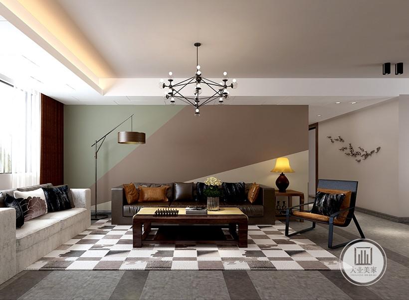 布艺沙发环绕深色木几,像点缀珍珠一般,营造视觉中心,几个靠垫在随意中反而加强了亲切感,柔和与宁静的光泽使整个客厅更有人情味。