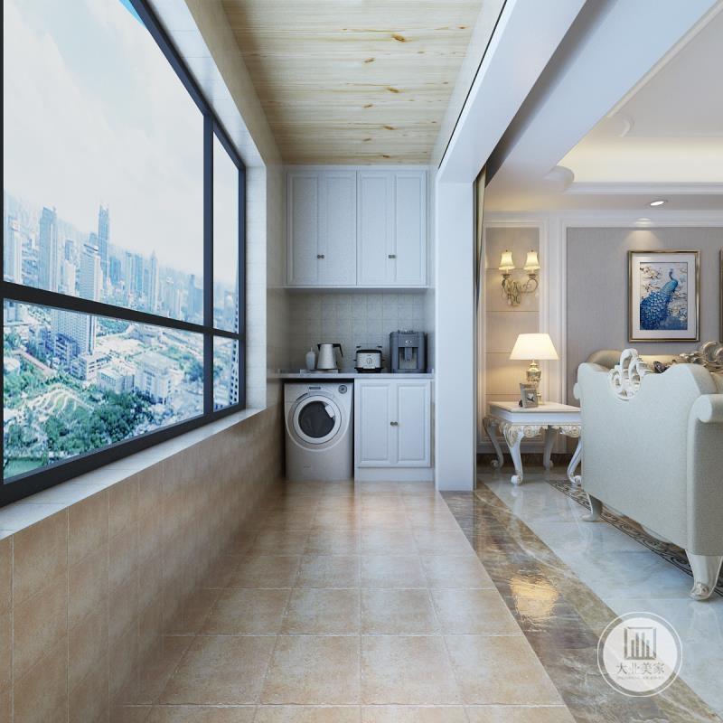 客厅阳台地面铺贴浅黄色花纹砖,墙面铺贴灰色壁纸搭配白色橱柜。