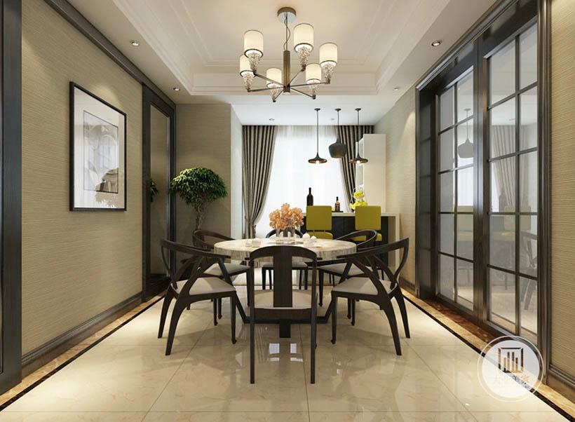 餐厅装饰简单却很有质感,大理石地面明亮干净,空间更加通透,储物柜与酒柜靠近窗户,通风采光性能极佳。