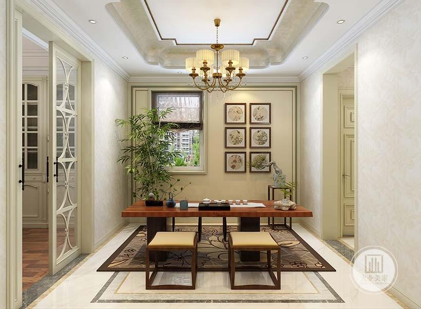 茶水室的空间铺贴浅色花纹壁纸,茶几和椅子都采用红木材料,窗户的一侧悬挂六幅油画。