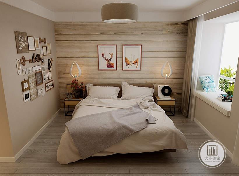 卧室床头背景墙采用实木板装饰,墙面悬挂两幅现代装饰画,床的两侧采用实木床头柜。