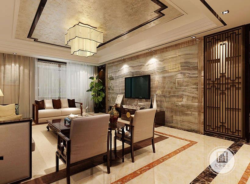 客厅吊灯采用中式回字风格,简单大气,褐色对称边框设计,云纹大理石,优雅华丽。