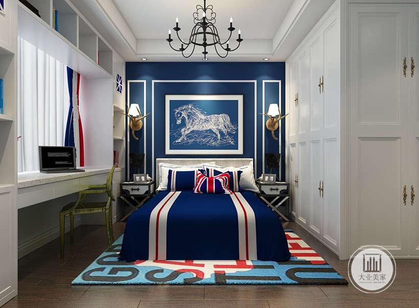 标准美式色彩家居布艺,象征自由自在、随意的不羁生活方式,家居格调已深蓝色为主,白色家具的搭配,有着巴洛克的奢侈与贵气,