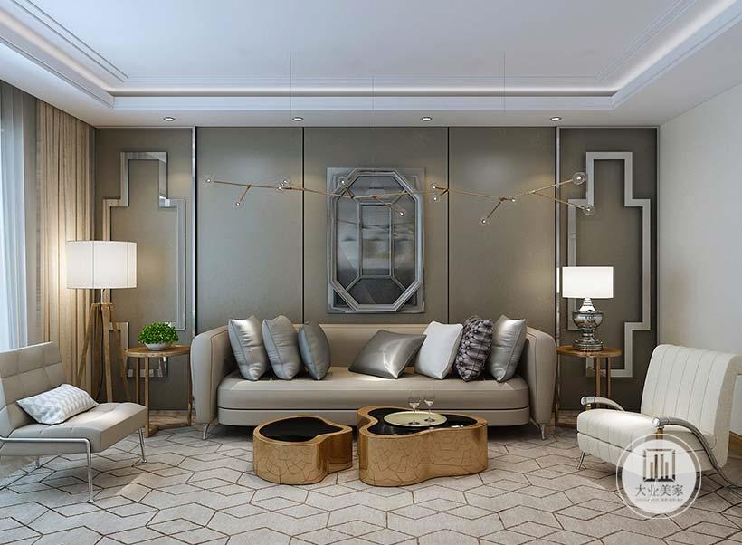 客厅沙发墙采用深绿色木板,沙发采用布艺沙发,茶几采用类似树桩的形式可以拼合在一起。