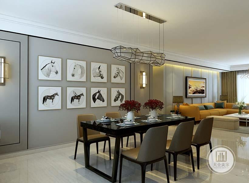 餐厅餐桌餐椅都采用简约设计,一侧的墙面采用灰色墙纸墙面挂现代装饰画。