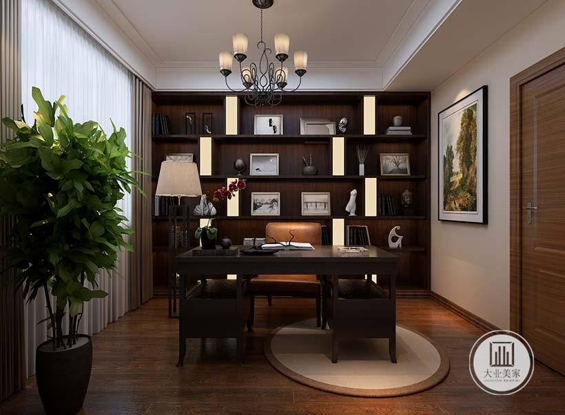 书房书桌采用浅色木地板,搭配浅色地毯,书柜书桌采用黑檀木材料。