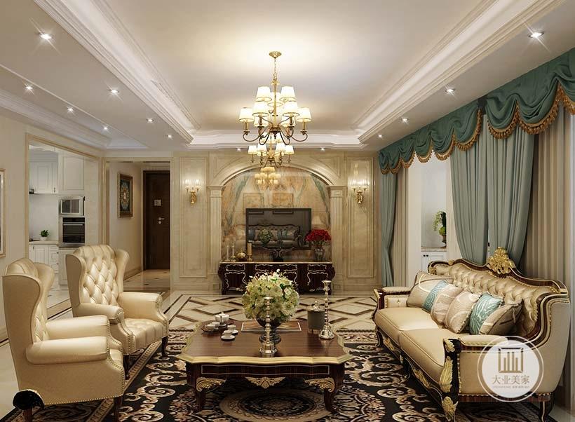 客厅影视墙采用浅黄色大理石,两侧采用石膏线装饰,墙面采用美式壁灯。