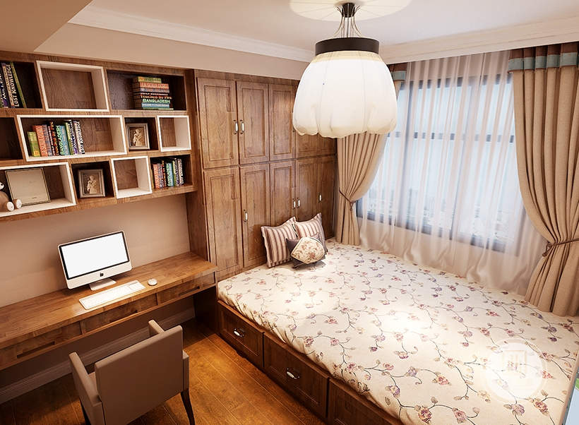 书房采用榻榻米,一侧的墙面采用红木材料的书柜和书桌。