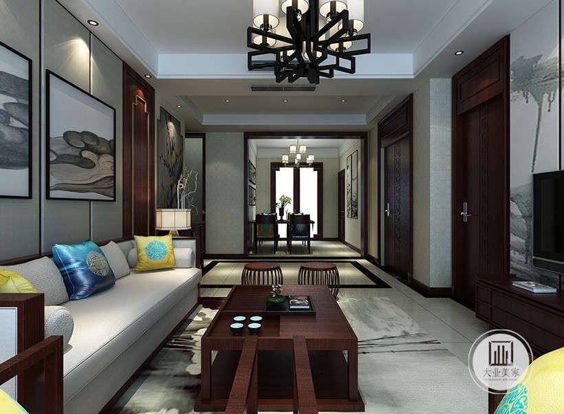 客厅线条分割感立体感,划分出空间层次,室内多采用对称式的布局方式,格调高雅,造型简朴优美,色彩浓重而成熟。