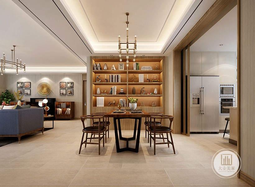 餐厅餐桌餐椅采用实木材料,一侧的墙面采用实木收纳柜。