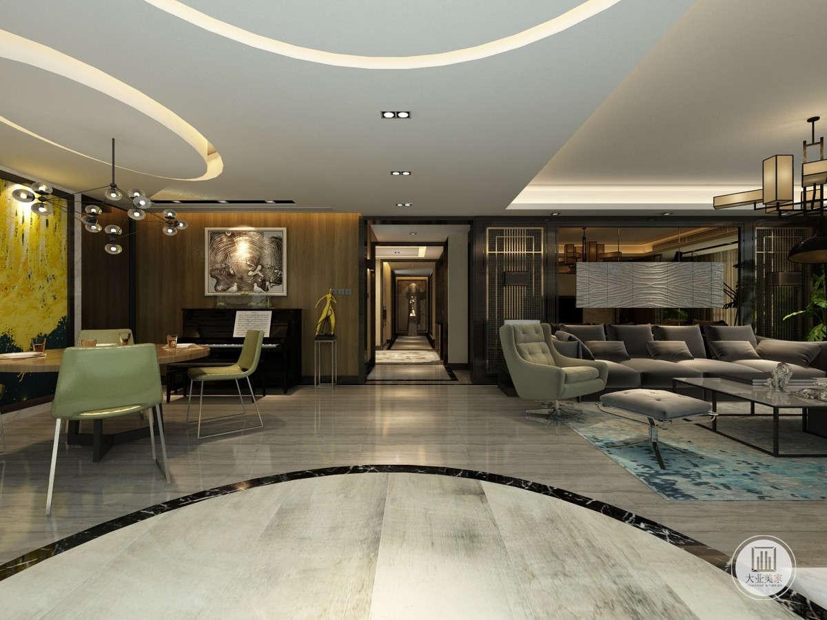 整体布置简洁,客厅以灰色为主调,点缀特色工艺品,休闲的布艺沙发配合同色系的软垫,配合仿古地板,展现出和谐宁静的家居生活气氛。