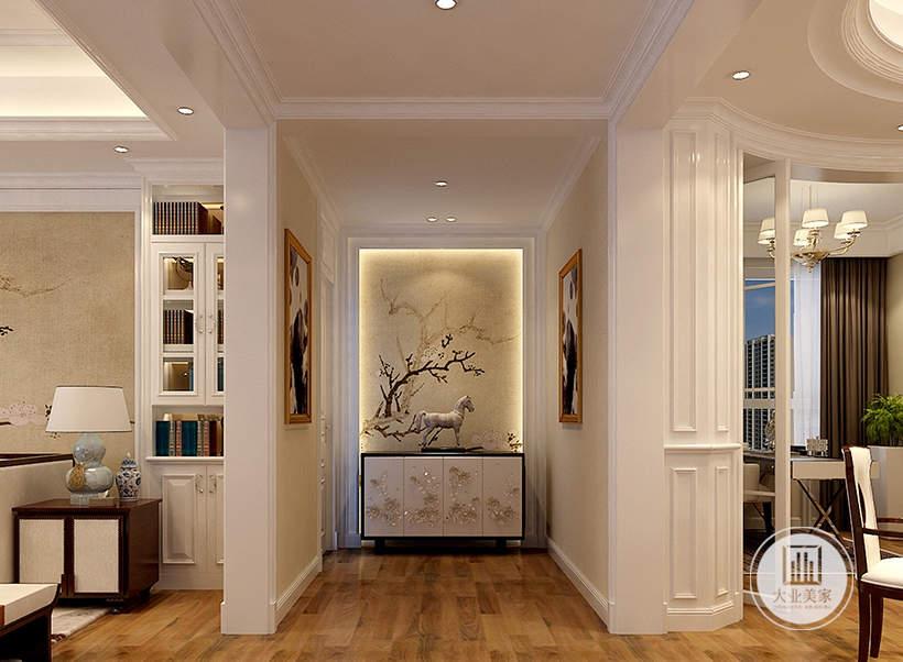 入户玄关采用浅黄色花草壁纸,搭配白色实木橱柜。
