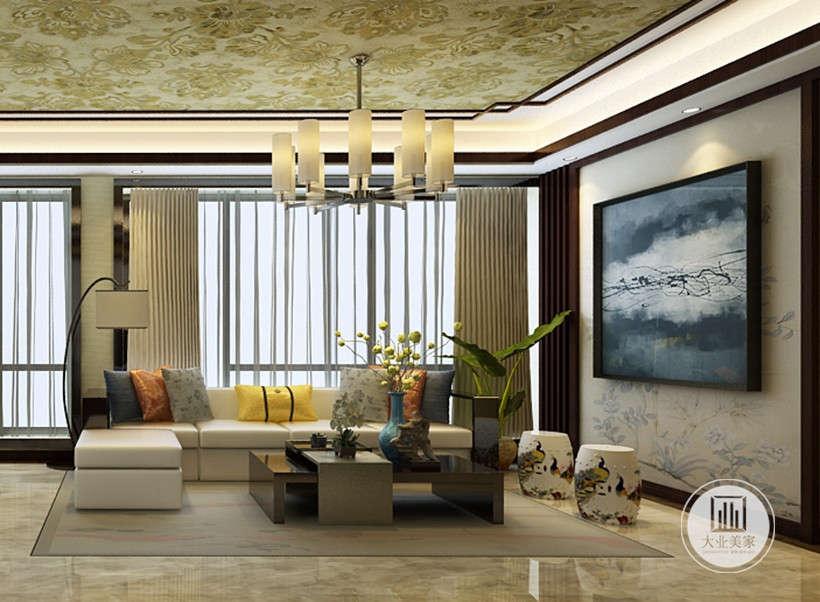颜色素雅电视墙,却有在中间醒目放置深墨挂画,雅致的室内格局,起到画龙点睛的作用。