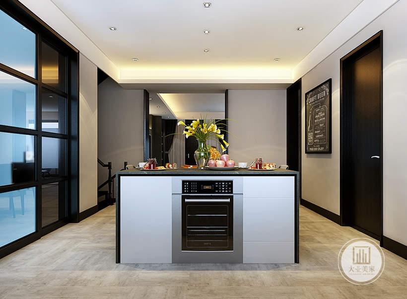 中岛的内部空间放置洗碗机,节约厨房空间。