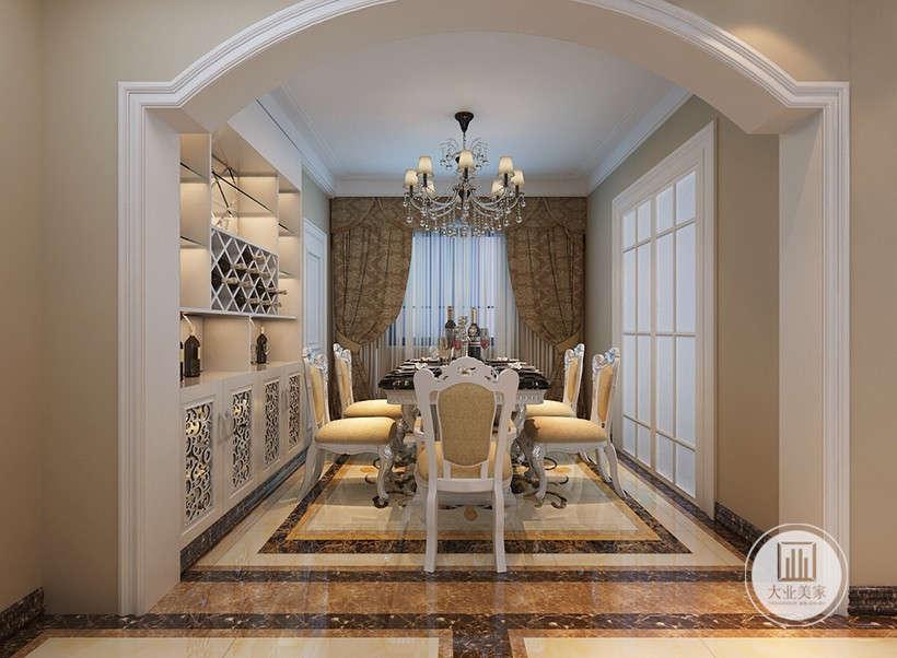 餐桌椅线条简单、装饰元素少,酒柜强调功能性设计,线条简约流畅,大理石地板与白色主色调,色彩对比强烈。