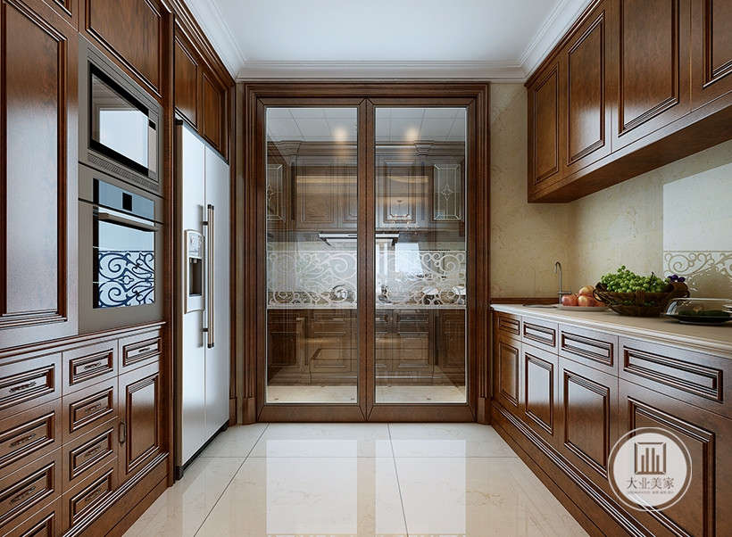 玻璃门与大理石的巧妙融合,较其它空间要更明快光鲜,开放的厨房环境和足够操作的台面,易于清洁打理。