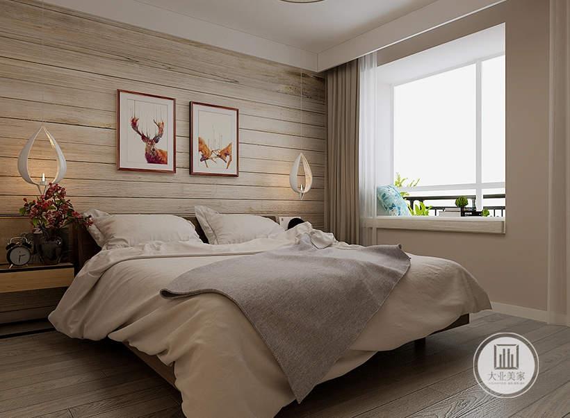 卧室的一侧采用飘窗,墙面铺贴浅色壁纸。