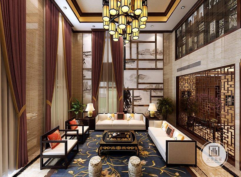 客厅装修效果图:地面铺深蓝色花纹地毯,从这里可以看到客厅的布局装饰。