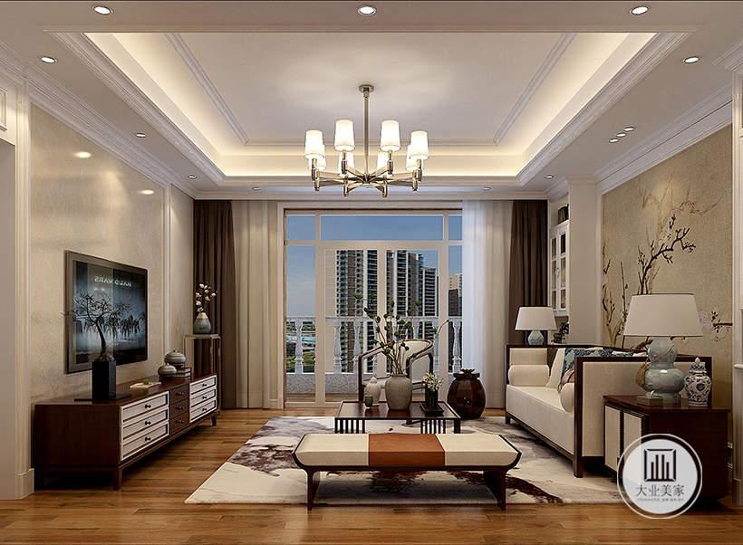 沙发墙铺贴浅黄色花草壁纸,沙发茶几都采用红木材料,影视墙采用浅色大理石护墙板,电视柜采用红木材料。