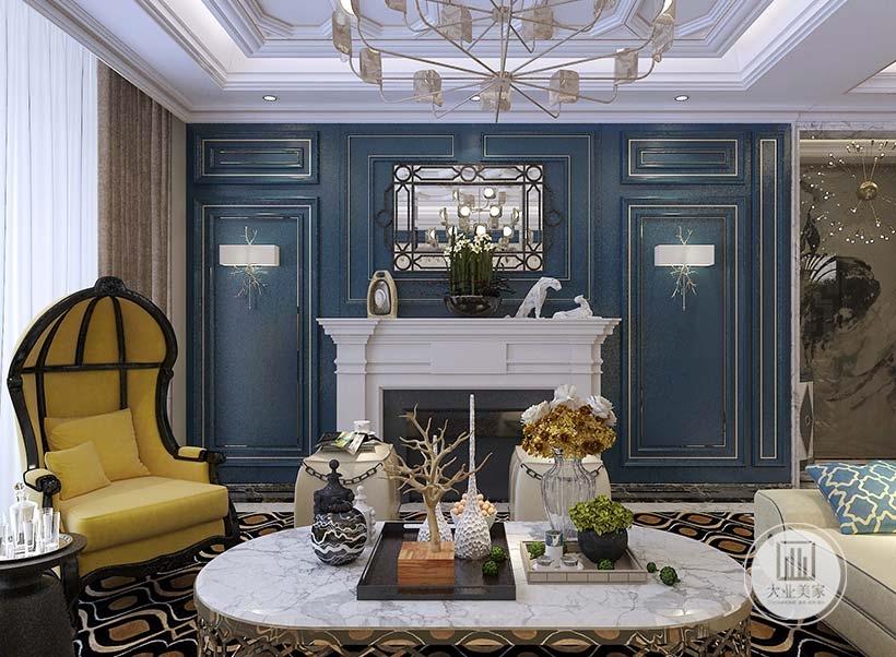 客厅影视墙不放电视,同时改造成欧式壁炉,蓝色实木墙面搭配镜面装饰,下面是白色石膏做成的壁炉。