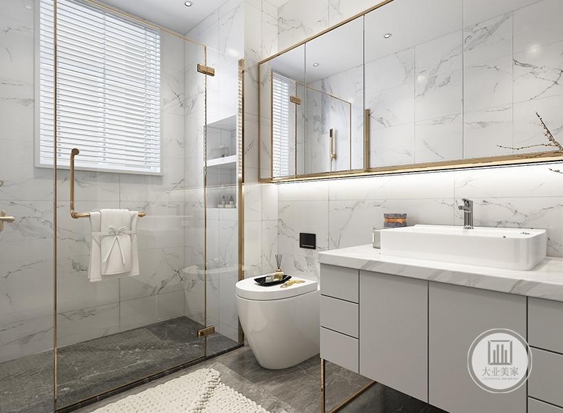 卫生间采用干湿分离的设计,墙面铺贴白色瓷砖,干区地面铺设灰色花纹砖,湿区地面铺设黑色花纹砖。
