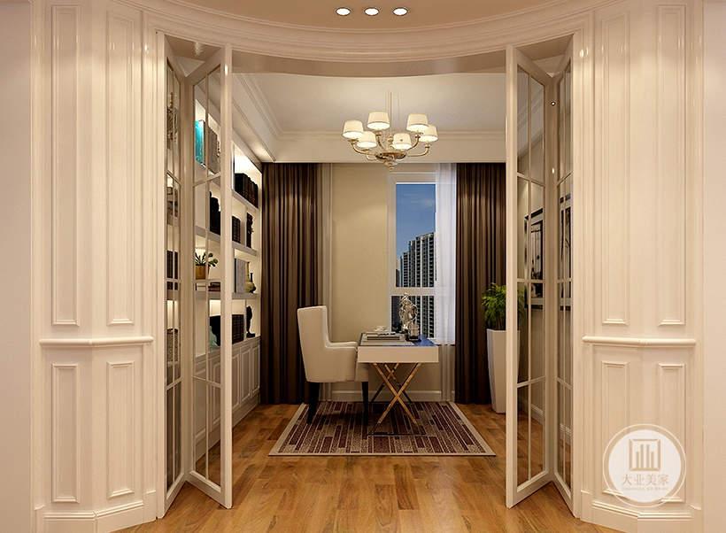 书房门采用白色金属折叠门,墙面采用白色实木收纳柜。