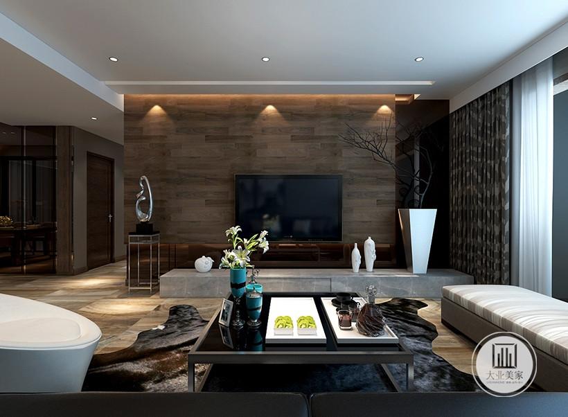 电视墙线条简约流畅,色彩对比强烈清新自然、设计师以跳色配饰进行装点融合,打造随意轻松的居室环境。