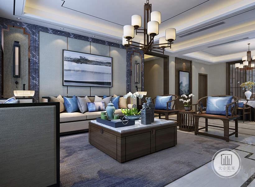 客厅沙发墙采用灰绿色壁布,墙面悬挂现代装饰画,沙发采用浅色布艺沙发,搭配实木材料的茶几,地面铺设白色瓷砖,搭配灰色地毯。