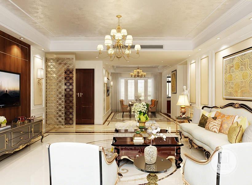 从这里可以看到客厅和餐厅布局装饰。