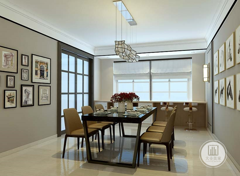 餐厅靠窗的一侧采用吧台的设计,一侧的玻璃推拉门通向厨房。