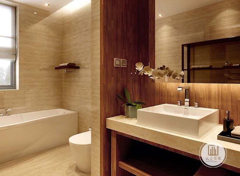 白色洗手台,金色质感花植造型工艺品,大理石墙面易于打理,给人干净整洁之感。