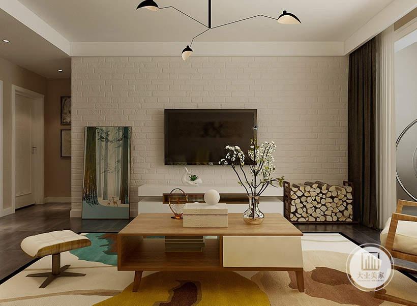 客厅影视墙采用浅色砖墙样式,电视柜采用现代白色装饰,一侧摆放绿色装饰。