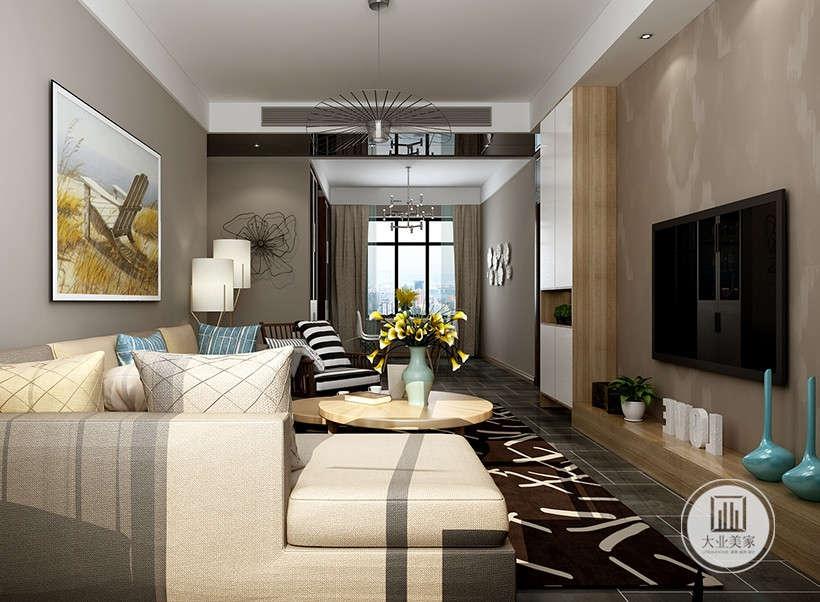 造型简洁的木质电视墙,素色沙发圆桌茶几简约电视柜,简单的线条,简单的组合,再加入超现实主义的挂画,青色瓷瓶黄色仿真花、以及蓝色抱枕等简单的元素,构成一个舒适简单的客厅空间。