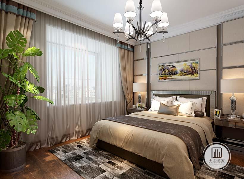 床头背景墙采用浅色实木护墙板,墙面采用现代风景画装饰,床的两侧放置金属床头柜。