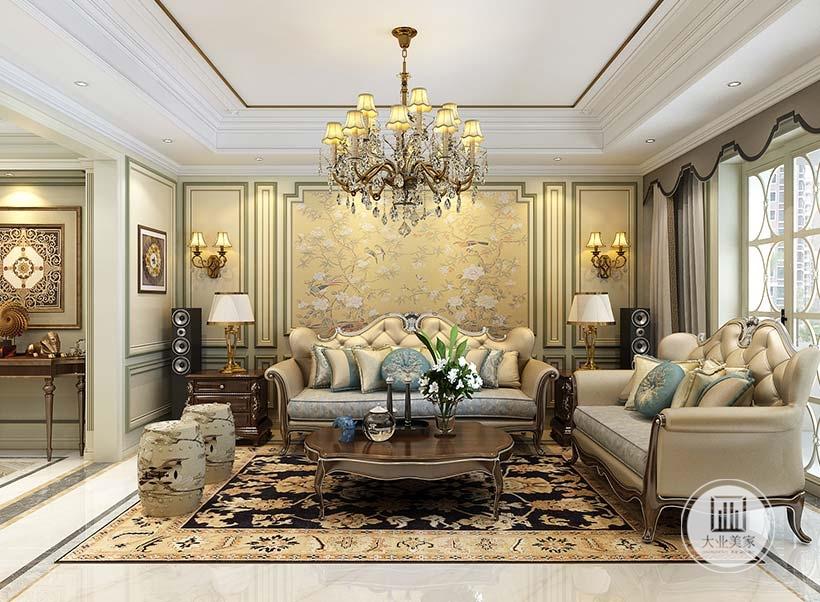 客厅影视墙采用浅黄色花草壁纸,茶几沙发都采用红木材料,沙发采用浅黄色真皮沙发。
