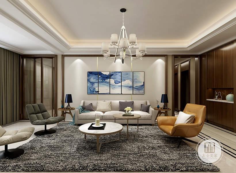 客厅沙发墙采用浅色墙纸,墙面采用现代装饰画,沙发采用白色布艺沙发,茶几采用圆形实木材料。