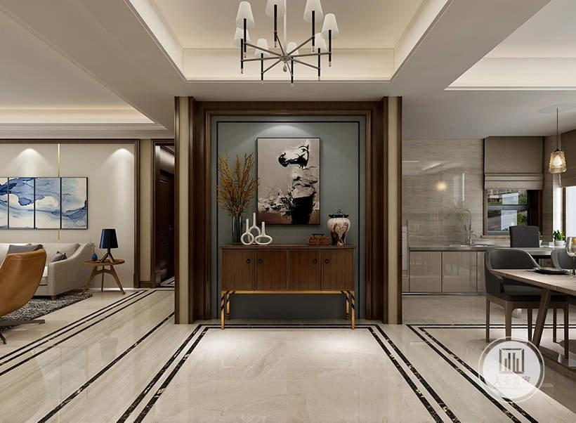 玄关背景墙面采用浅绿色,橱柜采用红木材料,墙面采用现代抽象画。