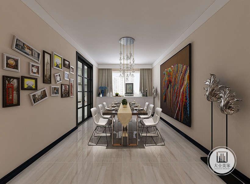 墙面只饰以设计师精心摆放的相册和大幅装饰画,餐座椅也是最简单的黑白组合,餐厅氛围以简洁的表现形式来满足人们对空间环境那种感性的、本能的和理性的需求。