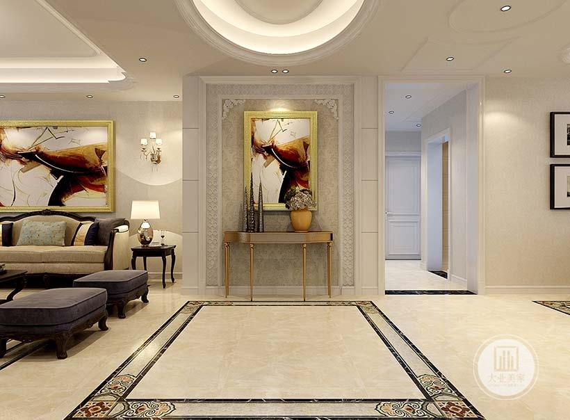 入户玄关采用浅黄色壁纸,墙面采用现代装饰画。