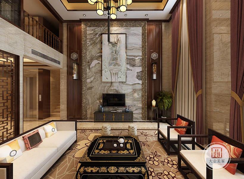 客厅装修效果图:影视墙采用巨型石材装饰,严肃而庄重。