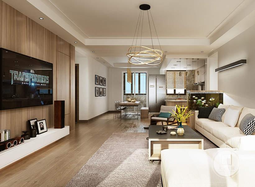 客厅沙发墙采用浅色壁纸,墙面采用黑色长条形壁灯,沙发采用白色布艺沙发,搭配实木茶几。