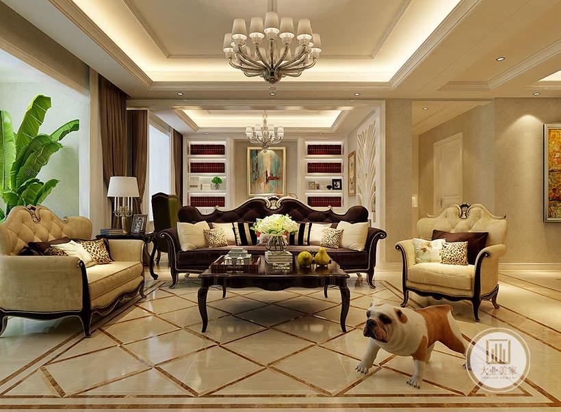 客厅沙发不靠沙发墙,沙发后面的空间是书房,沙发茶几都采用黑檀木材料,地面铺设白色瓷砖。